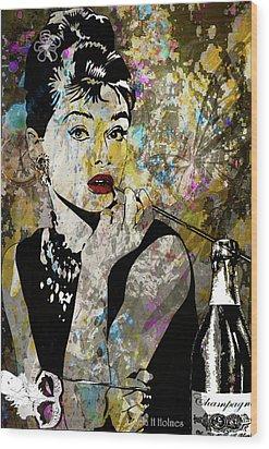 Audrey Hepburn Tribute  Wood Print by Angela Holmes