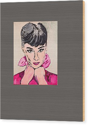 Audrey Hepburn Wood Print by Valerie Ornstein