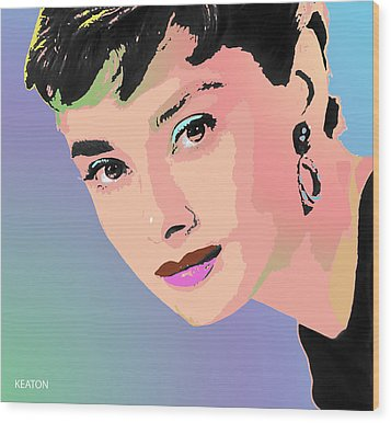 Wood Print featuring the digital art Audrey by John Keaton