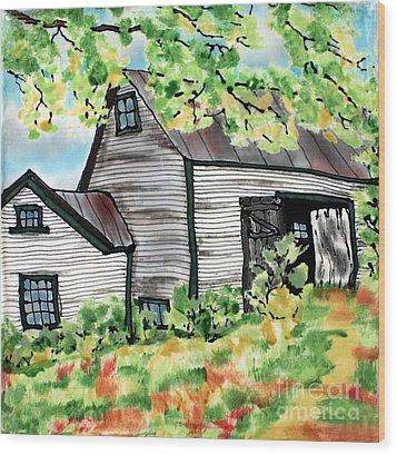August Barn Wood Print by Linda Marcille