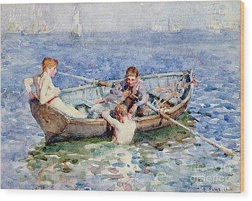 August Blue Wood Print by Henry Scott Tuke