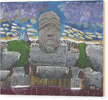 August  Olmec Head Wood Print