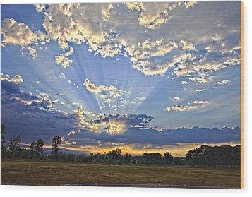 August Sunrise Wood Print