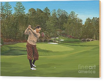 Augusta 11 And 12th Hole Bobbyjones Wood Print