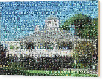 Augusta National Clubhouse Mosaic Wood Print by Paul Van Scott