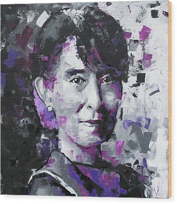 Wood Print featuring the painting Aung San Suu Kyi by Richard Day