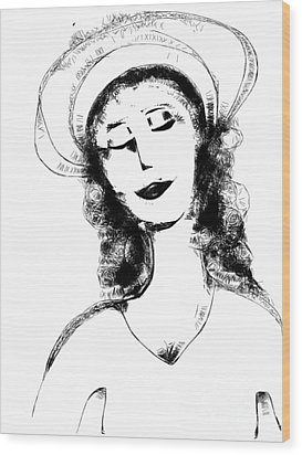 Wood Print featuring the digital art Auntie Mame by Elaine Lanoue