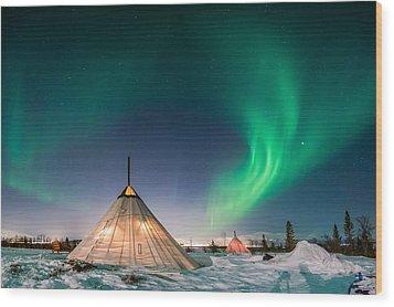 Aurora Above Sami Tent Wood Print by Alex Conu