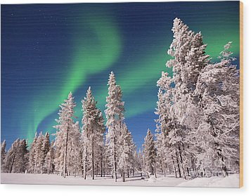Wood Print featuring the photograph Aurora Borealis by Delphimages Photo Creations