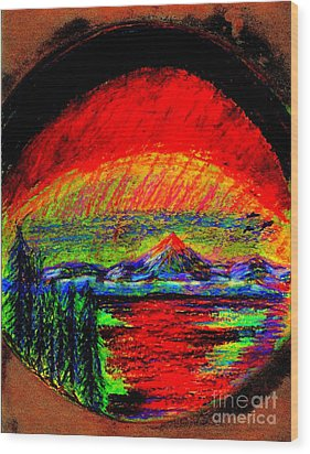 Aurora Borealis Northern Lights Wood Print by Richard W Linford