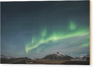 Wood Print featuring the photograph Aurora Borealis Over Iceland by Sandra Bronstein