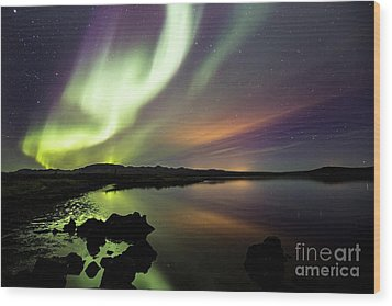 Aurora Borealis Over Thinvellir Wood Print
