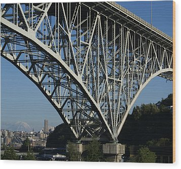 Aurora Bridge - Seattle Wood Print by Sonja Anderson