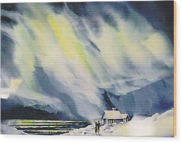 Aurora-lights Wood Print by Nancy Newman
