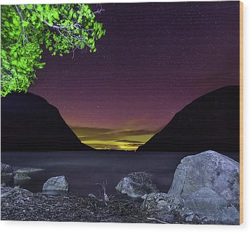 Aurora Over Lake Willoughby Wood Print