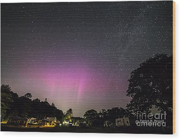 Aurora Over Sagadahoc Bay Campground Wood Print