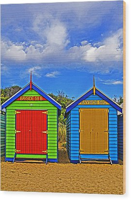 Aussie Beach Boxes Wood Print by Dennis Cox WorldViews
