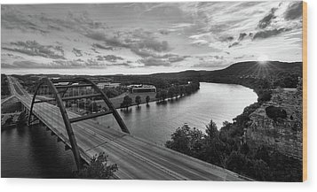 Austin 360 Pennybacker Bridge Sunset Wood Print