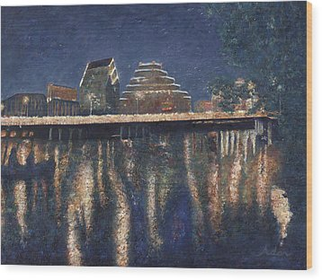 Wood Print featuring the painting Austin At Night by Felipe Adan Lerma