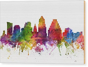 Austin Cityscape 06 Wood Print by Aged Pixel