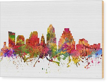 Austin Cityscape 08 Wood Print by Aged Pixel