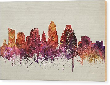 Austin Cityscape 09 Wood Print by Aged Pixel