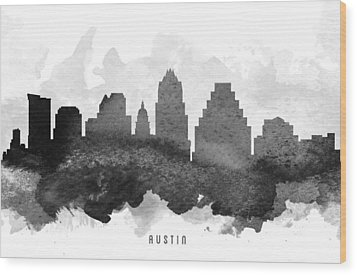 Austin Cityscape 11 Wood Print by Aged Pixel
