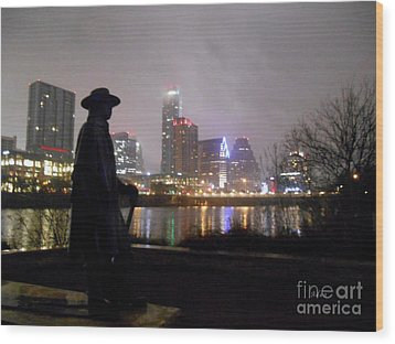 Austin Hike And Bike Trail - Iconic Austin Statue Stevie Ray Vaughn - One Wood Print