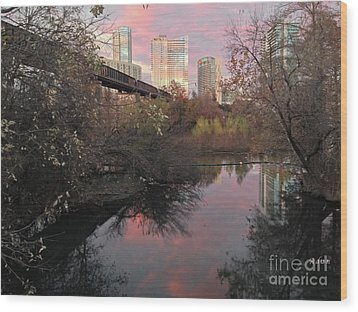 Austin Hike And Bike Trail - Train Trestle 1 Sunset Triptych Right Wood Print