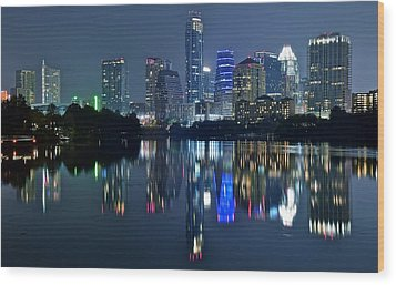 Austin Night Reflection Wood Print by Frozen in Time Fine Art Photography