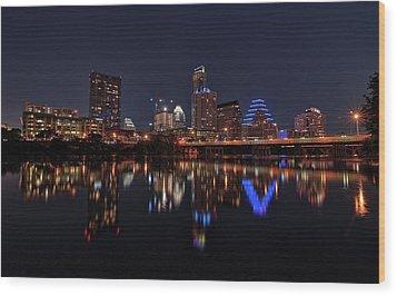 Austin Skyline At Night Wood Print