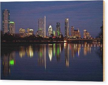 Austin Skyline Wood Print by Mark Weaver