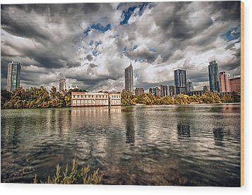 Austin Skyline On Lady Bird Lake Wood Print by John Maffei