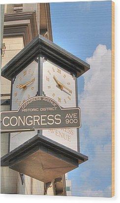Austin Street Sign And Clock Wood Print
