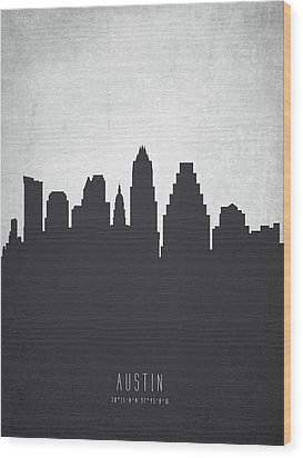 Austin Texas Cityscape 19 Wood Print by Aged Pixel