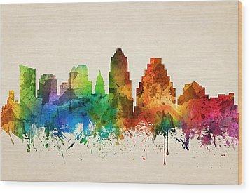 Austin Texas Skyline 05 Wood Print by Aged Pixel