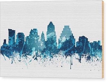 Austin Texas Skyline 19 Wood Print by Aged Pixel