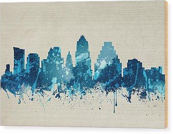 Austin Texas Skyline 20 Wood Print by Aged Pixel