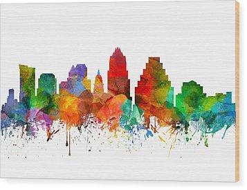 Austin Texas Skyline 21 Wood Print by Aged Pixel
