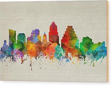 Austin Texas Skyline 22 Wood Print by Aged Pixel