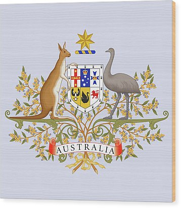 Wood Print featuring the drawing Australia Coat Of Arms by Movie Poster Prints