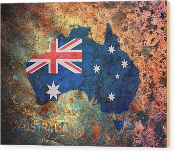 Australia Flag Map Wood Print by Michael Tompsett