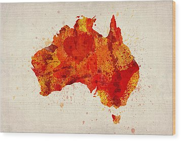 Australia Watercolor Map Art Print Wood Print by Michael Tompsett
