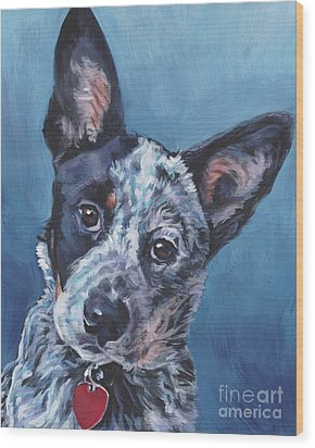 Wood Print featuring the painting Australian Cattle Dog by Lee Ann Shepard