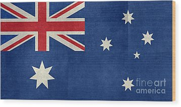 Australian Flag Vintage Retro Style Wood Print