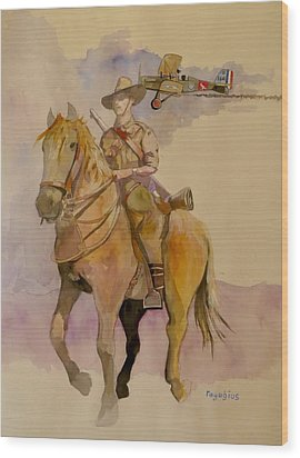Wood Print featuring the painting Australian Light Horse Regiment. by Ray Agius