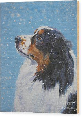 Australian Shepherd In Snow Wood Print by Lee Ann Shepard