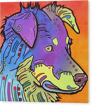 Wood Print featuring the painting Australian Shepherd Iv by Dean Russo
