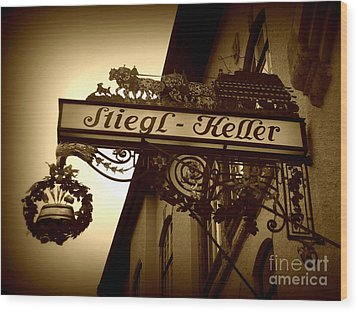Austrian Beer Cellar Sign Wood Print by Carol Groenen
