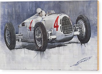 Auto Union C Type 1937 Monaco Gp Hans Stuck Wood Print by Yuriy  Shevchuk